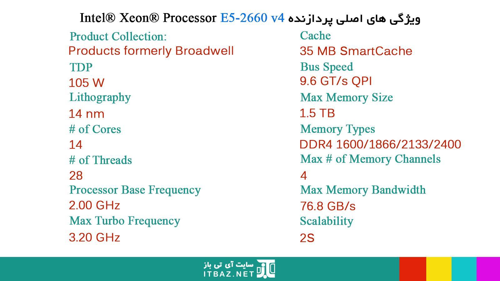 مشخصات سی پی یو intel xeon 2660 v4