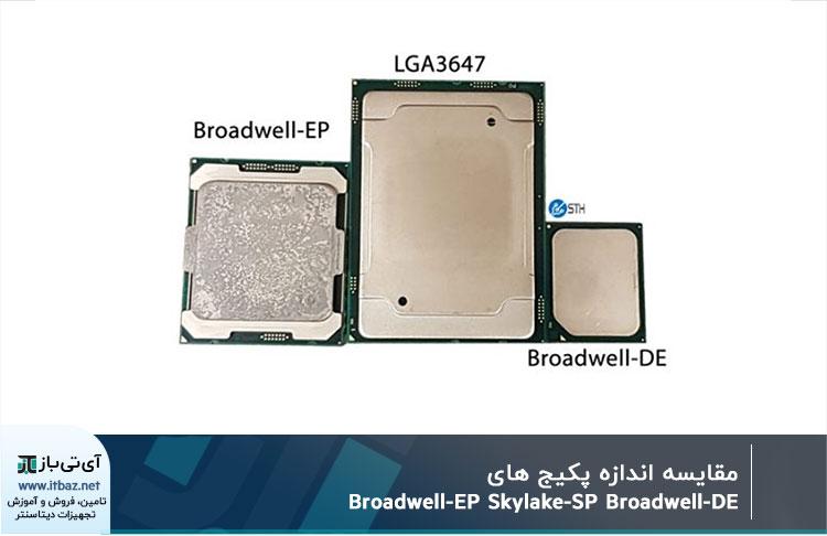 مقایسه اندازه پکیج Broadwell-EP Skylake-SP Broadwell-DE
