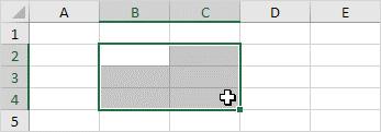 انتخاب یک ناحیه از سلول ها در اکسل