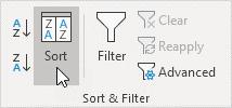 گزینه Sort در گروه Sort & filter نرم افزار Excel