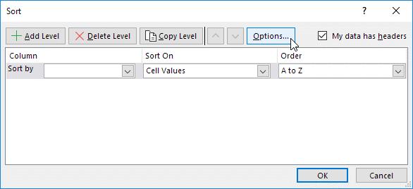 پنجره Sort در نرم افزار اکسل