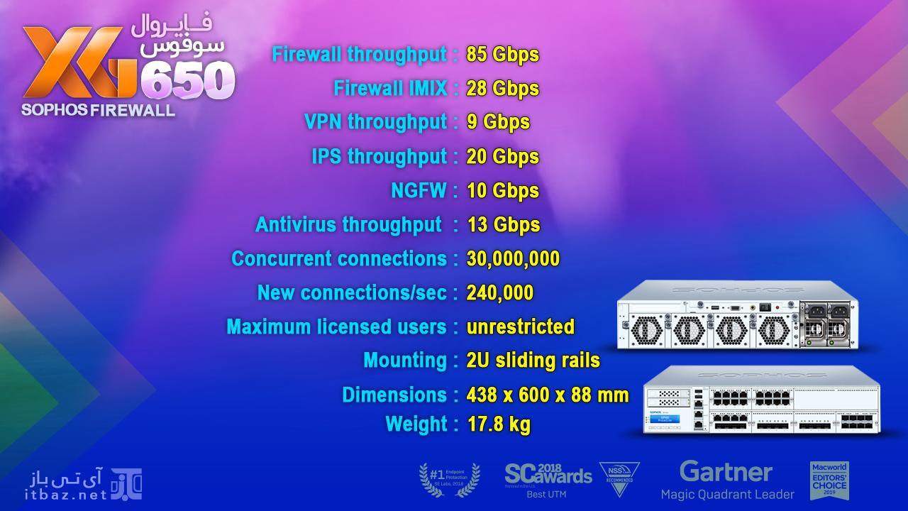فایروال سوفوس xg 650، مشخصات فایروال سوفوس xg 650، خرید فایروال سوفوس xg 650، قیمت فایروال سوفوس xg 650